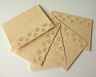 Flower Laced Greeting Cards - Parchment Note Cards - Set of 5 - DIY Decorate - A2 Size