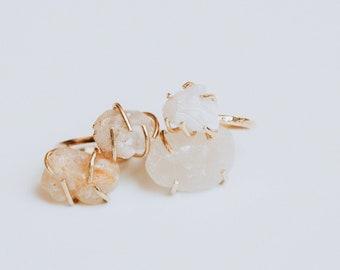 Oregon Coast Agate Stone Gold Prong Rings