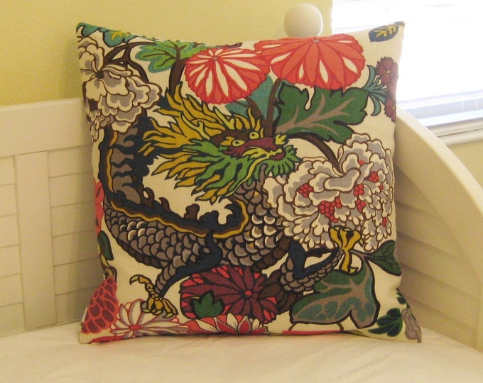Special Order for Nancy - Pair of Schumacher Chiang Mai Dragon in Alabaster Designer Pillow Covers