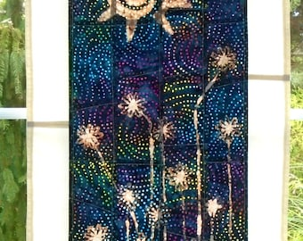 Tribal Sun & Wildflowers ~ Bleached Art Stained Glass Look Fabric Pojagi Window Treatment dorm watercolor curtain