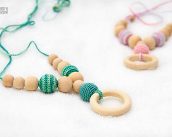 Etno Mama Nursing Necklace, Teething ring necklace, Breastfeeding mom beads, Organic cotton teething toy, Baby Carries, Baby shower gift