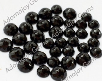 Black Onyx 6mm Gemstone Cabochon Rose Cut Micro Faceted FOR FOUR