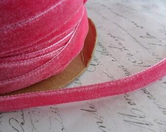 3/8 Strawberry Pink Velvet Ribbon