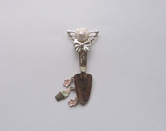 Silver and Pink Gardening Angel Pin