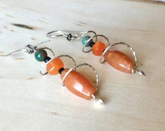 Orange Gemstones Earrings, Sterling Silver Earrings, Jade Earrings, Carnelian Earrings, Wire Twisted Earrings, Jasper Earrings,Gift for Her