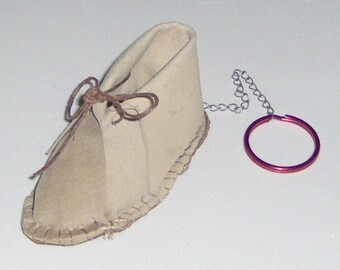 Custom Made! Baby Moccasin Keychain Baby Shoe Pink or Brown,  Keyring on Chain Attached to Baby Moc Handcrafted  Moc Key Holder