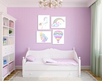 Unicorn Wall Art, Unicorn Room Decor, Girl Unicorn Room, Unicorn Nursery