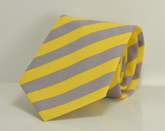 Yellow and Gray Striped Boy's Necktie, Wedding, Ring Bearer Tie, Toddler Necktie, Baby Tie