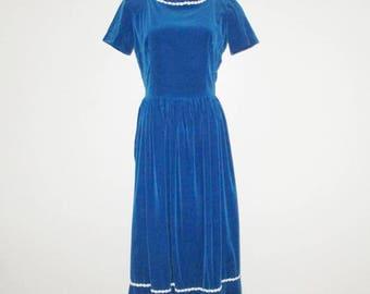 Vintage 1950s Blue Velveteen Dress / 50s Blue Velveteen Maxi Dress - Size S, M