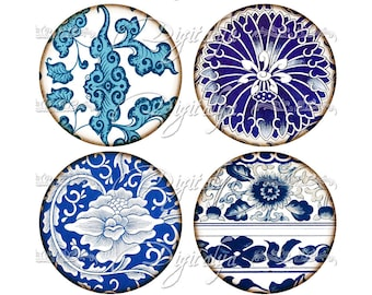 ASIAN BLUE PORCELAIN (11) Digital Collage Sheet - Circles 2.5 inch - 63mm for Pocket Mirror & craft - see promo - Instant Download