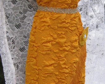 LARGE 80s prom dress, Great Gatsby dress Vintage 1980s 80 dress in 1920s 20s style Marigold Yellow dress 80s Sequin Prom dress, Flapper gown