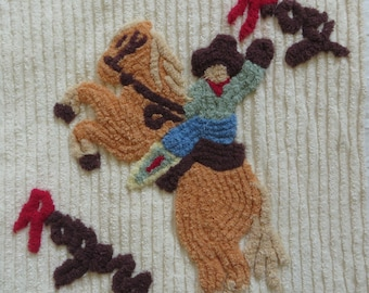Chenille Fabric~Roy Rogers Cowboy~Pillow Front