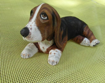 Basset hound dog made of self-hardening clay