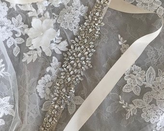 Classic wedding belt with rhinestones on ivory color double sided ribbon