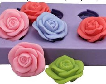 Roses Flexible Silicone Mold Silicone Mould Candy Mold Chocolate Mold Soap Mold Polymer Clay Mold Resin Mold R0932