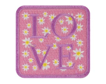 Pink Love Iron On Applique, Love Iron On Patch, Pink Patch, Love Applique, Fun Patch, Floral Patch, Embroidered Patch