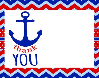 Anchor Thank You Card, Printable Design, Anchor Theme Party, Little Boy Note Card, Download and Print, Red White and Blue, Digital File