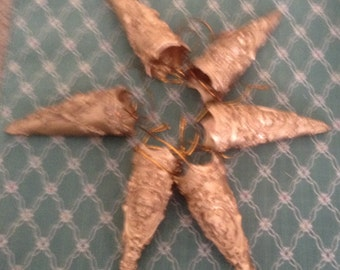 6 Angel Gold Cone Christmas Ornaments
