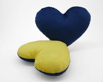 Dark Blue and Yellow Team Spirit Hug Heart Shaped Pillow 12x14 inches