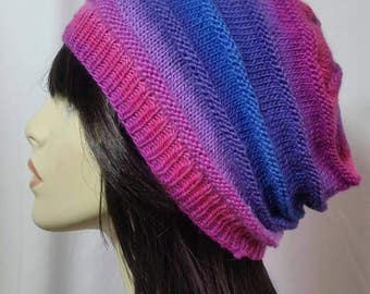 Rainbow Rippled Slouch Beanie