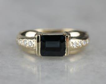 Modern Sapphire Ring, Right Hand Ring, Sapphire and Diamond 70VVHLJM-D