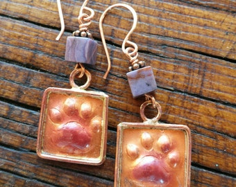 Paw Print Earrings - Copper - Dog Lover Jewelry - Dog Rescue Jewelry - Rustic Jewelry - Animal Lover