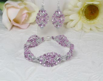 Woven Bracelet and Earrings Textured DiamonDuo Backlit Orchid Gifts for Her