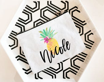 Pineapple Bag | Pineapple Makeup Bag | Pineapple Bachelorette | Pineapple Favor Bag | Pineapple Tote (EB3222TPB)