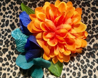 Orange peony hair flower