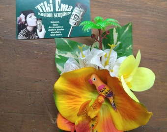 tropical Parrot hair flowers