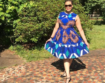 All the Right Angles: Blue African Print Color Block Dress