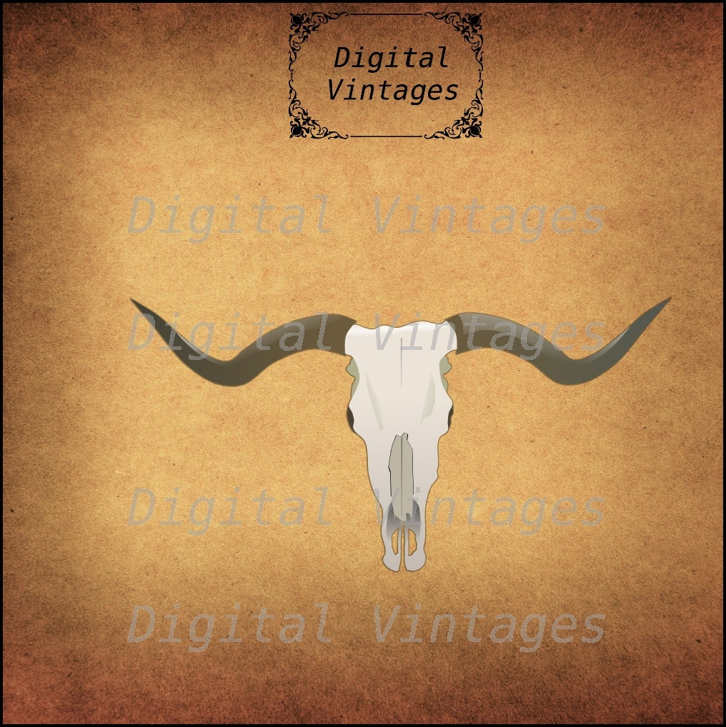 Cow Longhorn Western Skull Halloween Illustration Vintage