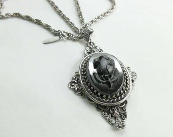 Vintage Whiting & Davis Signed Necklace Floral Rose Cameo Silver 9160