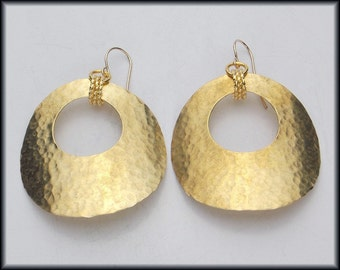 GYPSY - Handforged Hammered Large Bronze Hoop Earrings