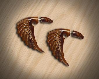 Fake Gauge Earrings, Bird of Happiness, Tribal Jewelry, Handmade, Split, Organic, Plugs, Cheaters, Tropical Wood - W04
