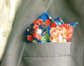 Blue And Red Asian-Inspired Floral Print Cotton Pocket Square With Hand-Rolled Hems