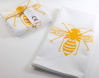 Bee Tea Towel. Kitchen Towel. Hand Towel. Hand Screen Printed. 100% Cotton.