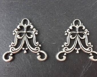 Chandelier earring, chandelier antique shabby chic silver 21 mm