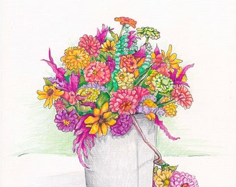 BUCKET OF ZINNIAS - Art Print/Floral/Flowers/Still Life/Zinnias