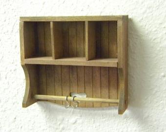 Wall potrack pot rack shelf for dollhouse miniature scenes handmade with hooks