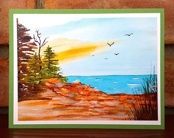 Peaceful Lakeshore - Greeting Card, A2, Blank or Choice of Text, Handmade, Print of Original Watercolor Painting