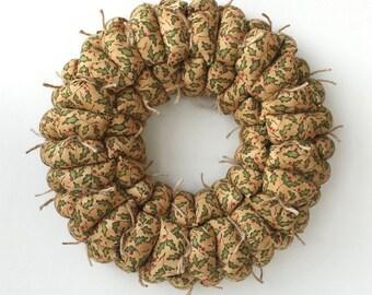 Christmas fabric wreath, primitive holly wreath, primitive holiday decoration, rustic door / wall decor, door hanging