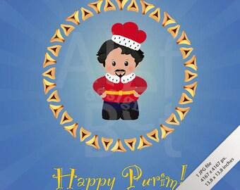 Jewish holiday card etsy jewish holiday of purim greeting card with achashverosh happy purim fun characters in m4hsunfo