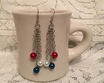 Red, White and Blue Pearl Earrings