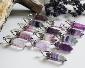 Necklace with Flourite gemstone Crystal pendant