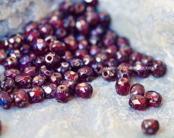 PREMIUM 50 Red Tranparent Silver Picasso 3mm Firepolish Czech Glass Beads (N114)