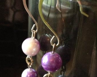 Purple upcycled bead drop earrings