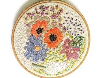 Flowers, Hoop, Embroidery Hoop, Wall Art, Floral Hoop, Hand Embroidery