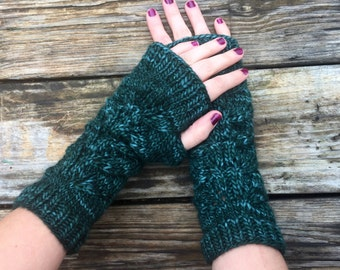 Fingerless gloves, lace accent Herb Garden Mitts in luxury wool, long gloves, fingerless mitts, arm warmers