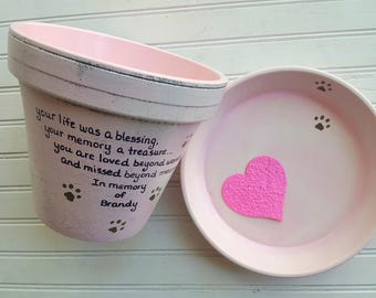 Animal Sympathy Gift - Dog Memorial Gift - Painted Flower Pot - Pet Memorial Planter - Cat Memorial Gift - Pet Loss Gift